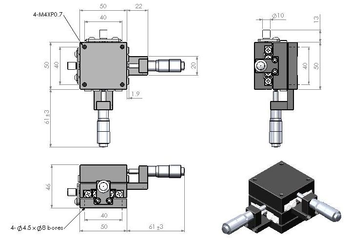 特性: x-y轴2方向手动微调距离. 滚柱vr线轨结构,移动精准.